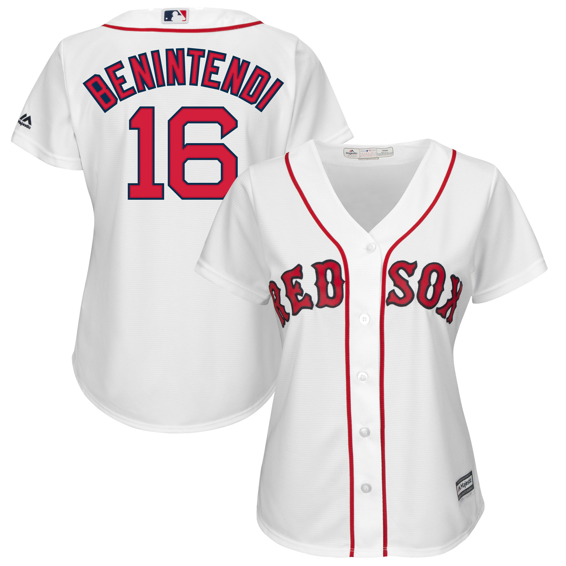 Andrew Benintendi Boston Red Sox Majestic Women's Cool Base Player Jersey - White