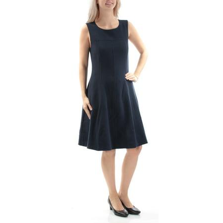 ARMANI Womens Navy Sleeveless Jewel Neck Knee Length Dress  Size: 4