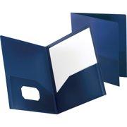Oxford Polypropylene Twin Pocket Portfolios, Dark Blue, 1 Each (Quantity)