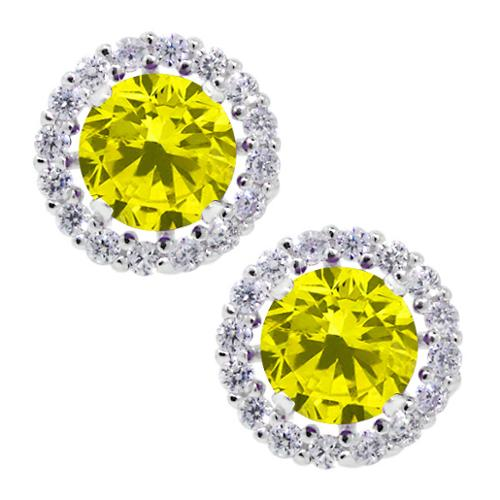 1.60 Ct Round Canary SI1-SI2 Diamond 925 Silver Removable Jacket Stud Earrings