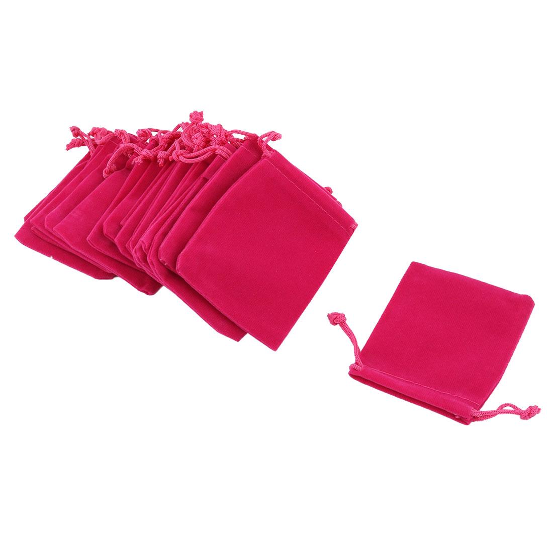 School Dorm Velvet Sundries Pen Eraser Ring Holder Drawstring Bag Fuchsia 20 Pcs