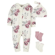 Modern Moments by Gerber Baby Girl Coverall, Cap and Socks Set, 4-Piece, Newborn-3/6 Months