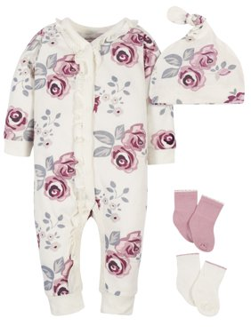 Modern Moments by Gerber Baby Girl Coverall, Cap and Socks Set, 4pc