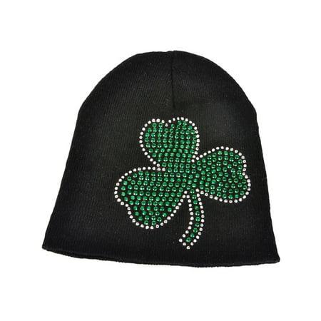 Saint Patrick Day Hats (St. Patricks Day Black Knit Beanie Hat with Green Rhinestone)