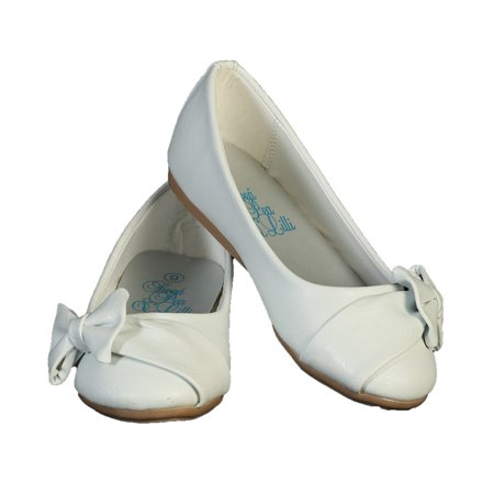 Girls White Bow June Special Occasion Dress Shoes 11-4 Kids (White Girls Dress Shoes)