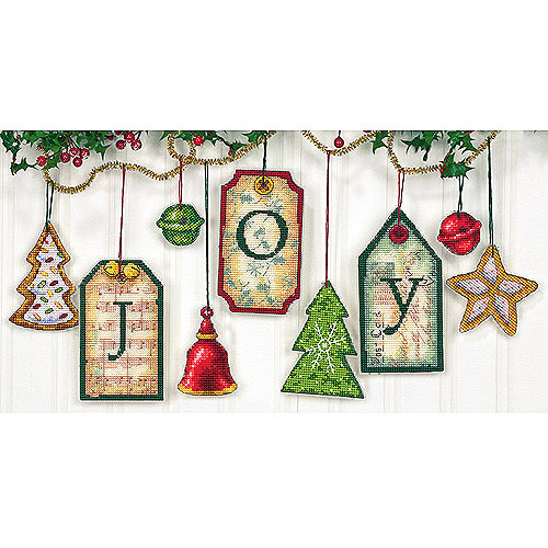 "Dimensions ""J-O-Y"" Counted Cross-Stitch Ornaments Kit"