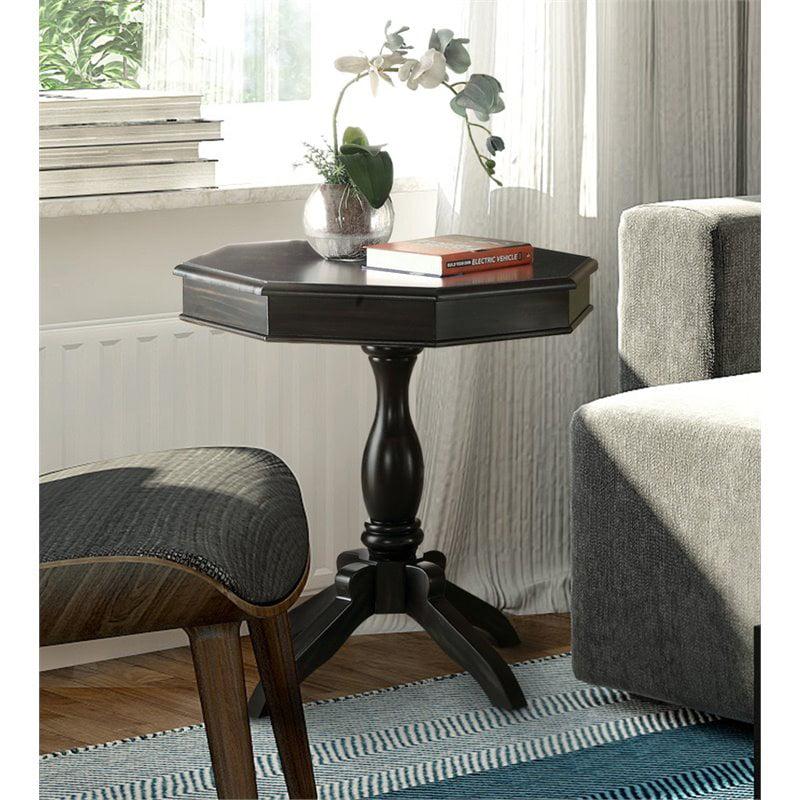 Furniture of America Ehtel Octagon Pedestal Table in Black