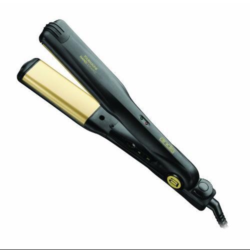 "Andis 1 1/2"" Curved Edge - Professional Heat Flat Iron - 20 Heat Setting - Nano-ceramic Plate - AC Supply Powered - Black"