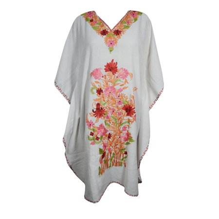Mogul Women's White Floral Embellished Caftan Lounger Cover Up Tunic DRESS