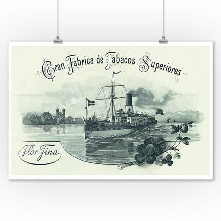 Flor Fina Cran Fabrica de Tabacos Superiores Brand Cigar Box Label - Nautical (9x12 Art Print, Wall Decor Travel Poster) - Nautical Box