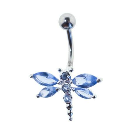 Lex & Lu Steel Gem Navel Belly Button Ring Body Piercing w/Cz Gems FGB126-BL
