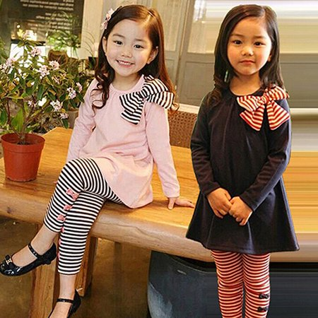 (Asian Size)Girl12Queen Kids Girls Bow T-shirt Striped Leggings Suit Long Sleeve Shirt Pants Clothing Set