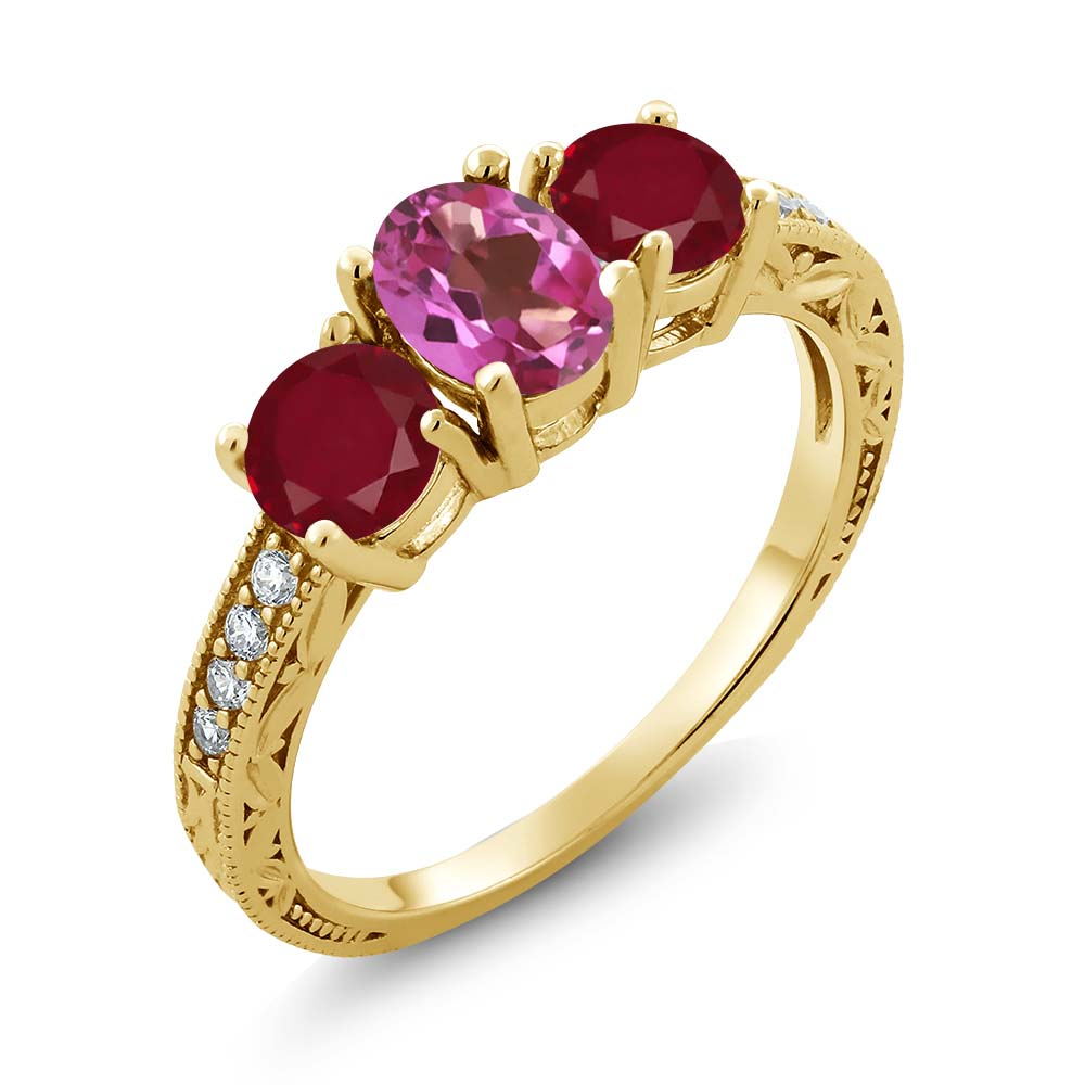 2.02 Ct Oval Pink Mystic Topaz Red Ruby 18K Yellow Gold Plated Silver Ring by