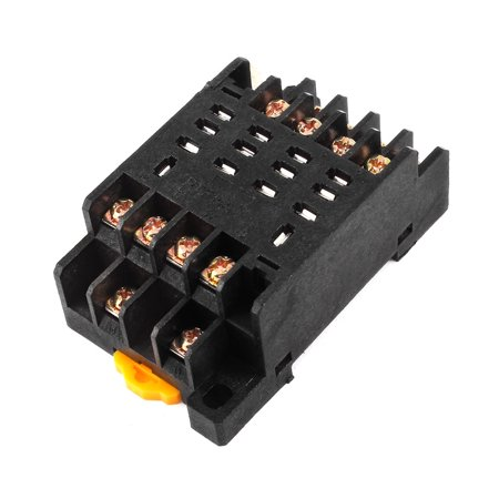 Unique Bargains PTF14A 14P Screw Terminal Relay Socket Base DIN Rail for HH64P
