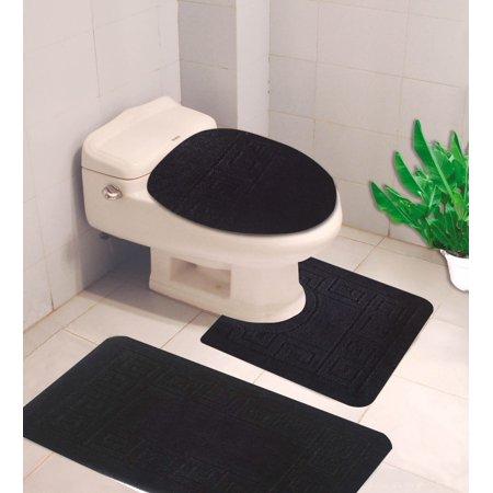 #10  Black 3-Piece Embossed Bathroom Mat Set, Solid Large Rug 19