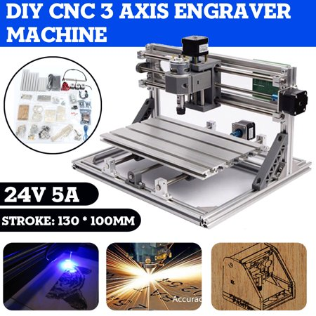 DIY 3 Axis CNC Engraver Machine PCB Milling Cutting Wood Carving Router Kit 13×10cm ()