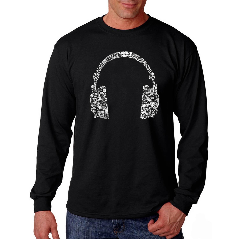 Los Angeles Pop Art Big Men's Long Sleeve T-shirt - 63 Different Genres of Music