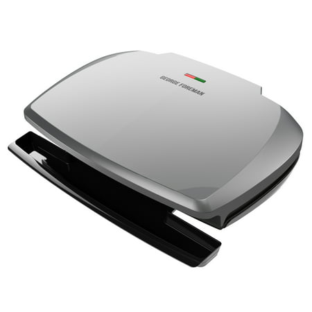 George Foreman 9-Serving Classic Plate Grill and Panini Press, Silver,