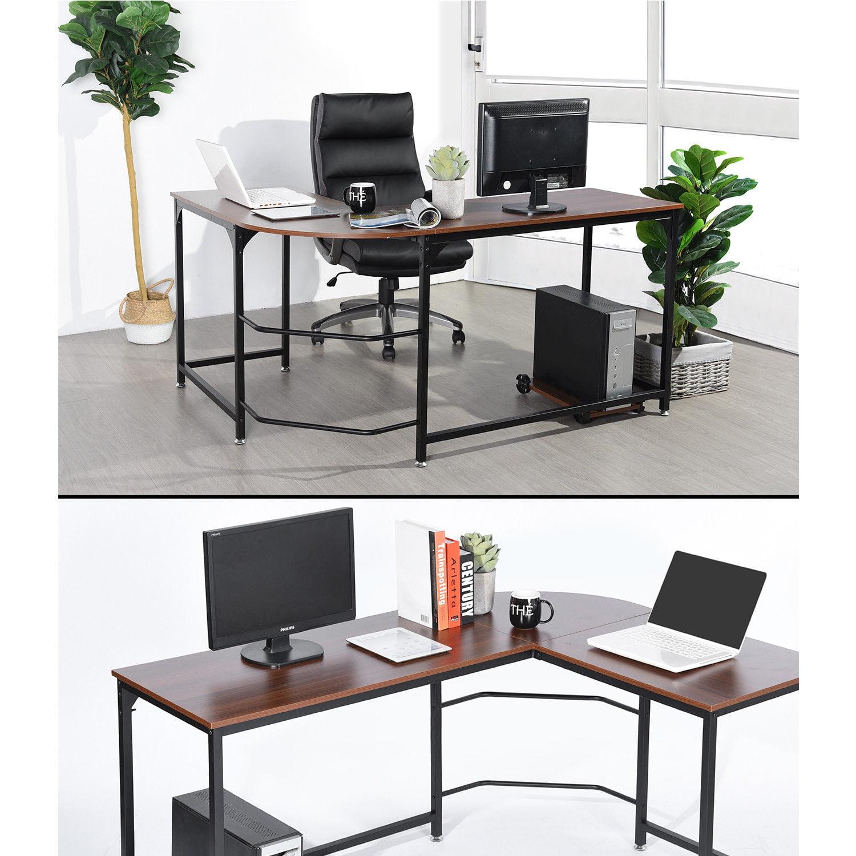 L Shaped Corner Desk Computer Workstation Home Office: Reversible Panels L-Shaped Wood Corner Computer Desk PC