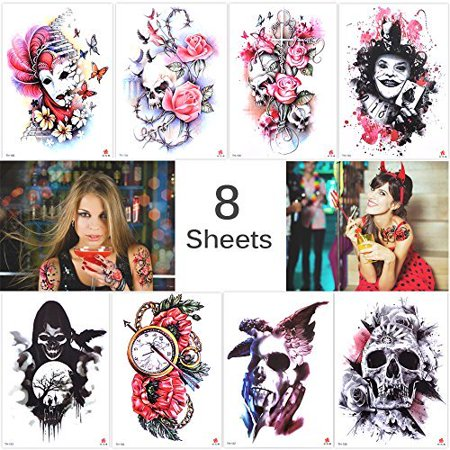 New School Halloween Tattoo Designs (Lady Up 8 Sheets Large Temporary Tattoos Halloween Tattoo Party Pack for)