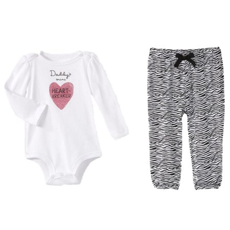 Infant Girls Daddys Mini Heart Breaker Baby Outfit Zebra Bodysuit & Leggings](Zebra Outfit)