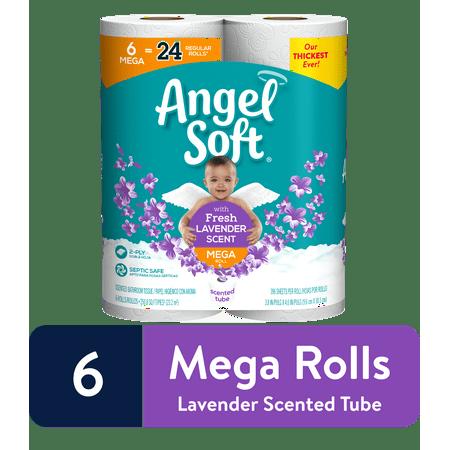 Angel Soft Toilet Paper, Lavender, 6 Mega Rolls Three Roll Tissue