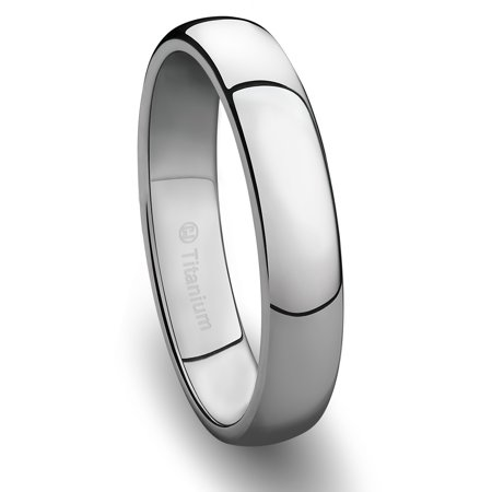 Wedding Band in Titanium 4MM Ring Classic Style and Polished Finish