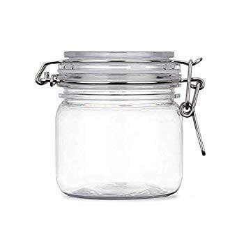2Pcs 10 Oz/300ml Clear Round Plastic Home Kitchen Storage