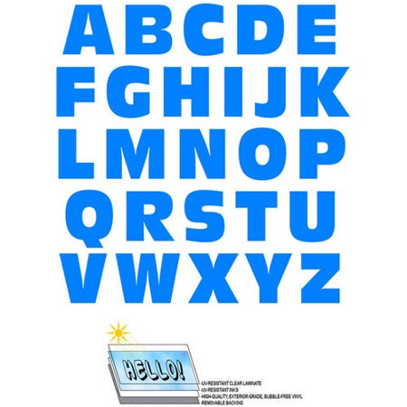 Alphabet Letters Uppercase Blue Automotive Car Window Locker Bumper Stickers
