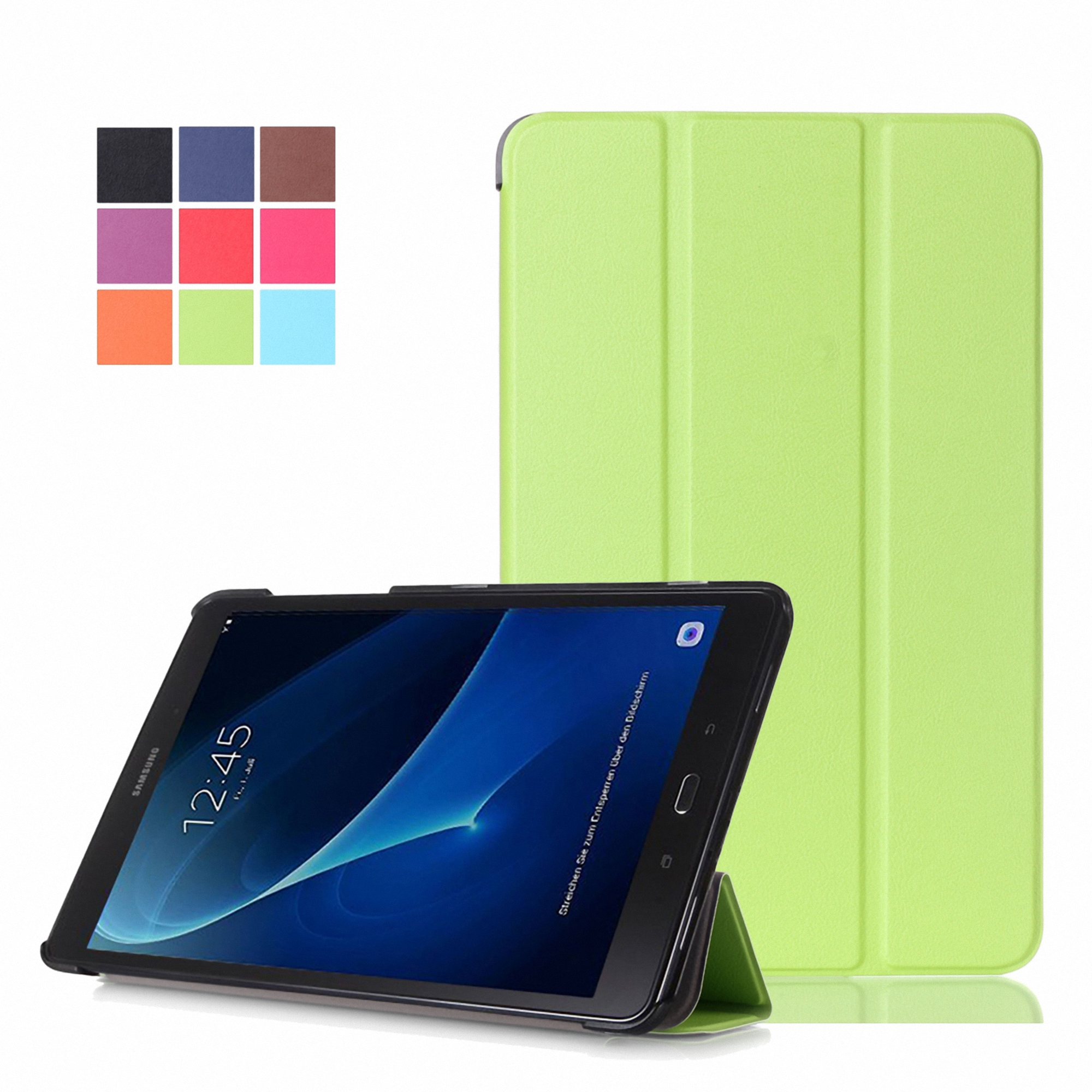 """Dteck For Samsung Tab A 10.1"""" SM-T580 PU Leather Hard Case Slim Trifold Stand Folio Smart Cover Black"""