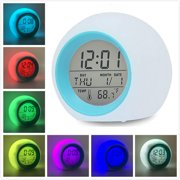 Peroptimist Led Wake Up Light Digital Electronic Alarm Clock with Indoor Temperature Calendar Display and Nature Sound - 7 Colors Changing Night Light for Bedrooms for Adults Kids Teens