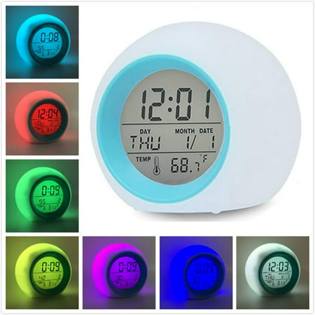 Peroptimist Led Wake Up Light Digital Electronic Alarm Clock with Indoor Temperature Calendar Display and Nature Sound - 7 Colors Changing Night Light for Bedrooms for Adults Kids Teens ()