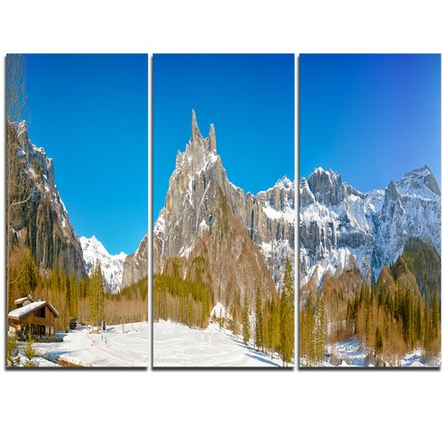 Design Art Sixt Fer a Cheval Panoramic View - 3 Piece Graphic Art on Wrapped Canvas Set