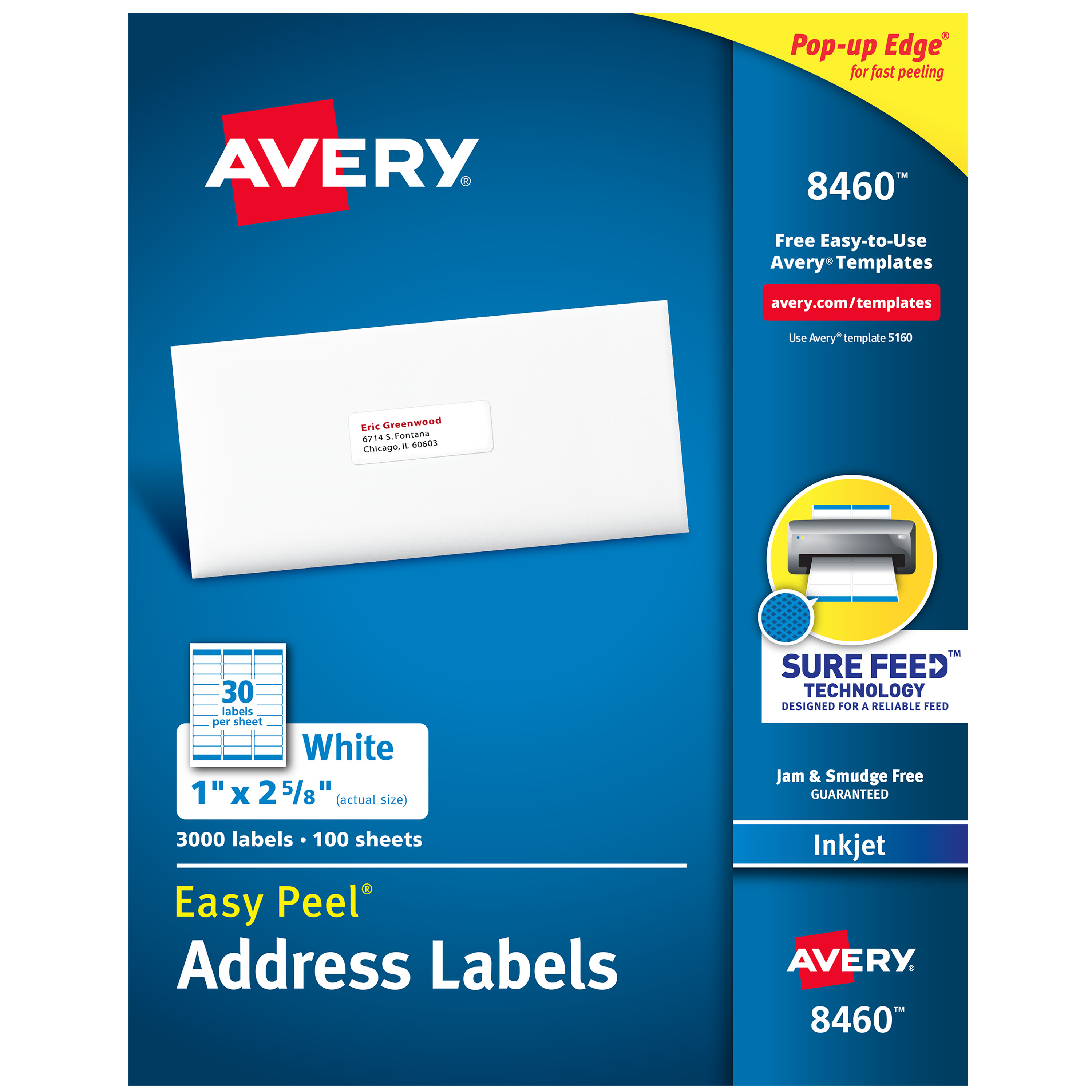"Avery Easy Peel Address Labels, Sure Feed Technology, Permanent Adhesive, 1"" x 2-5/8"", 3,000 Labels (8460)"