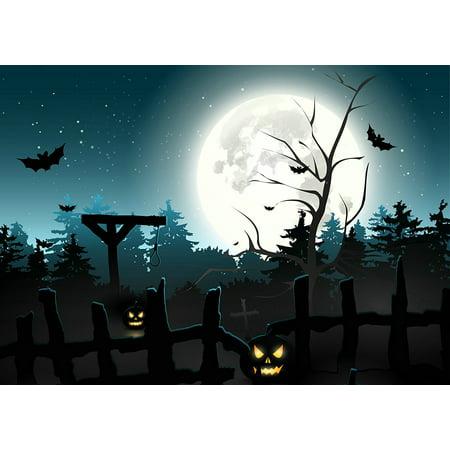 HelloDecor Polyester Fabric 7x5ft Halloween Photography Backdrop Horror Pumpkin face bat Blue Moonlight Photo Background (Halloween Face Photo Editor)