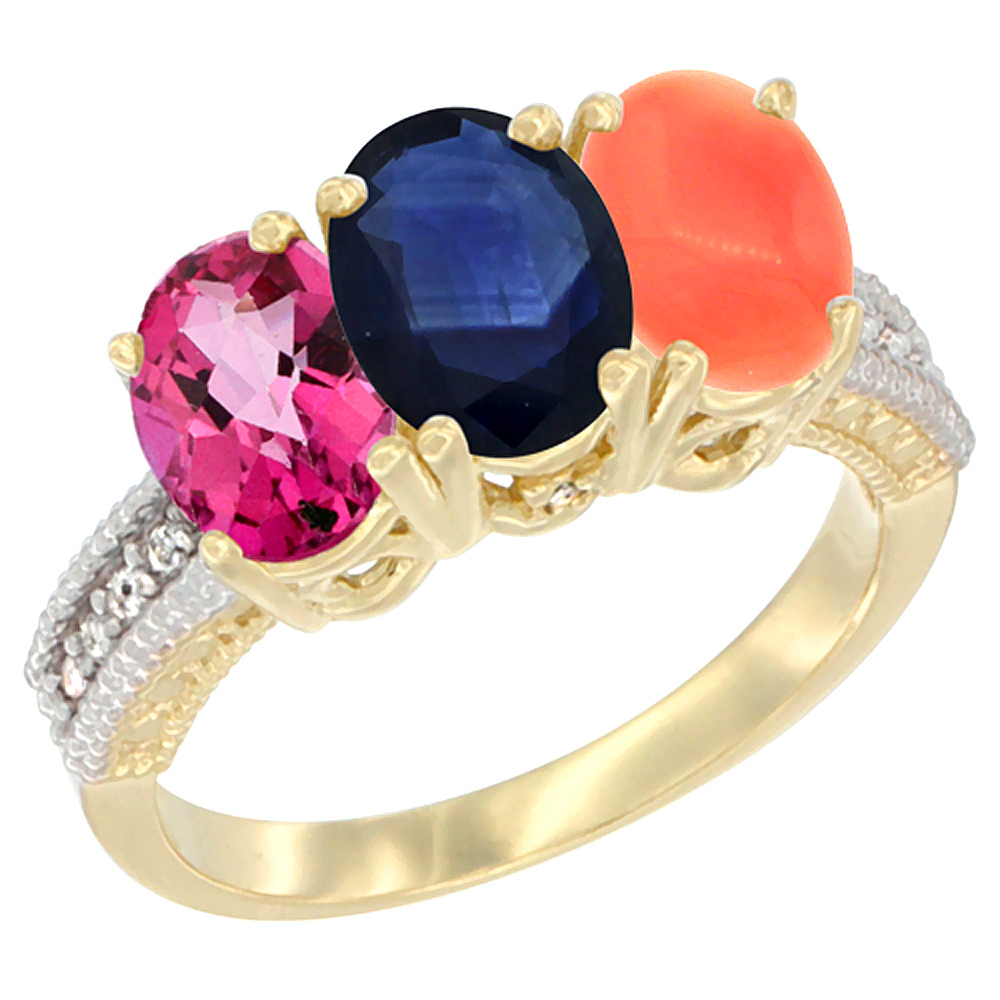 10K Yellow Gold Diamond Natural Pink Topaz, Blue Sapphire & Coral Ring 3-Stone 7x5 mm Oval, sizes 5 10 by WorldJewels