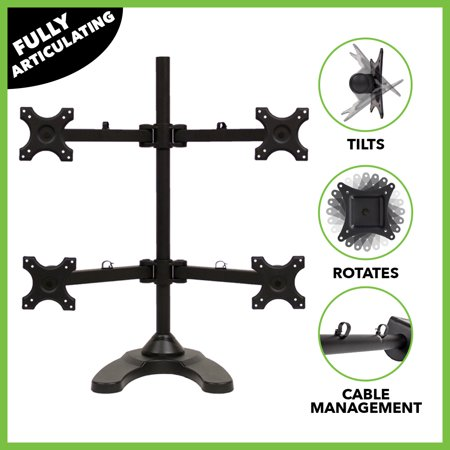 Navepoint Quad Lcd Monitor Desk Stand Mount Free Standing Adjustable 4 Screens Upto 24 Inches Black
