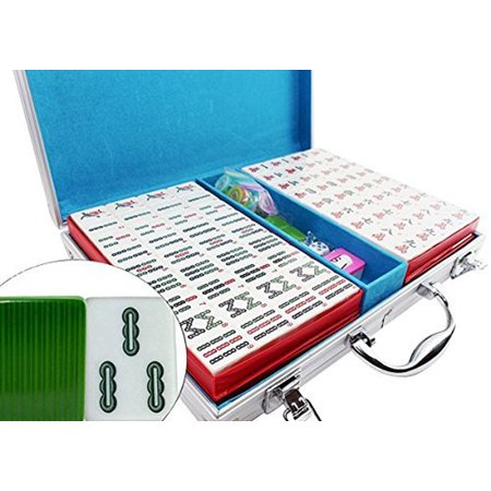 Youth Kelly Green Game (Classic Chinese Mahjong Game Set – 144 Numbered Green Tiles Lucky Dog Pattern Aluminum case. Complete set weighs 9 lbs ( Mahjongg, Mah-Jongg, Mah Jongg,)