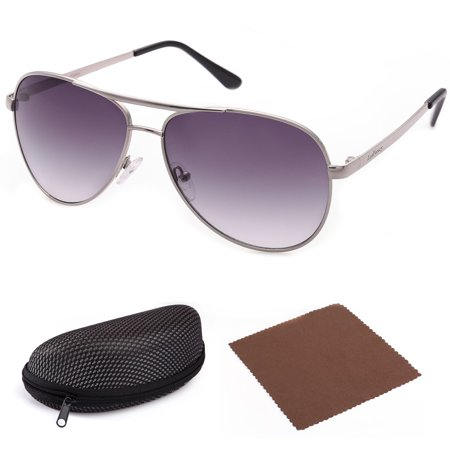 Aviator Sunglasses for Men with Case, Grey Gradient 61mm Shatterproof Lens, Metal Frame, UV400 (Azure Gradient Lens)