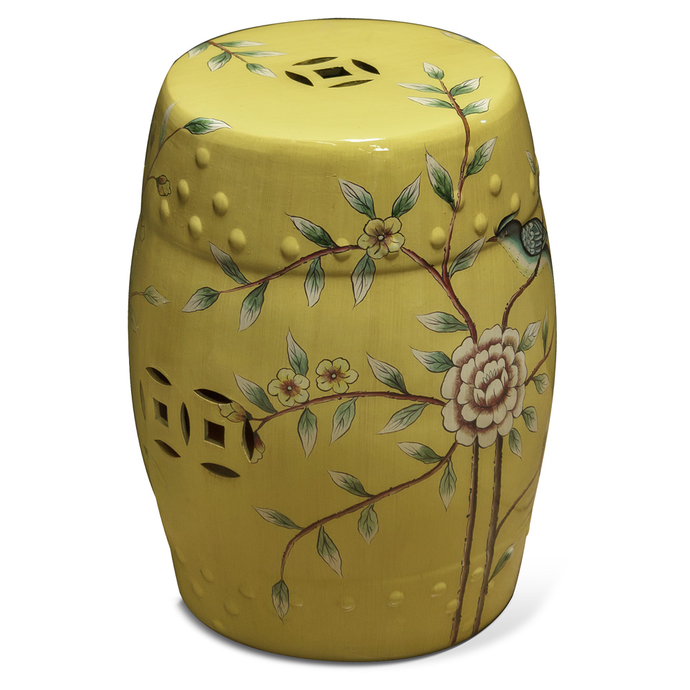 China Furniture and Arts Porcelain Garden Stool End Table with Bird and Flower Motif on Yellow