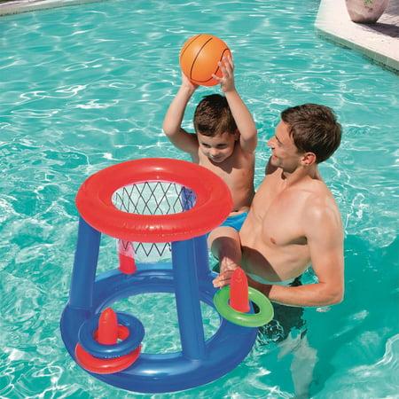 Giant Inflatable Floating Basketball Hoop & Blow Up Ball For Swimming Pool 16 Inflatable Basketball