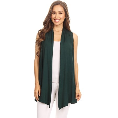 (NEW MOA Women's Lightweight Sleeveless Draped Open Cardigan/Made in USA)