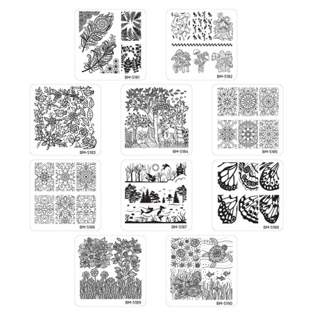 Bundle Monster 10pc Nature Themed Nail Art Stamp Plates - Mystic Woods, Set 2 (Drk Nail Stamping Plates)