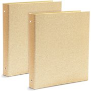 """2-Pack Glitter Champagne Gold 3-Ring Binder 1.8"""", Cute Office Accessories, for Letter Sized Pages"""