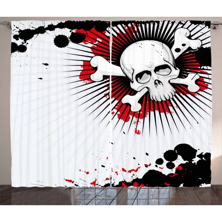 Halloween Curtains 2 Panels Set, Skull with Crossed Bones over Grunge Background Evil Scary Horror Graphic, Window Drapes for Living Room Bedroom, 108W X 63L Inches, Pearl Red Black, by - Halloween 4 Panel