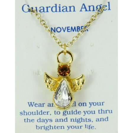 November Birthstone Angel Necklace Pendant Guardian Secret Appreciati...