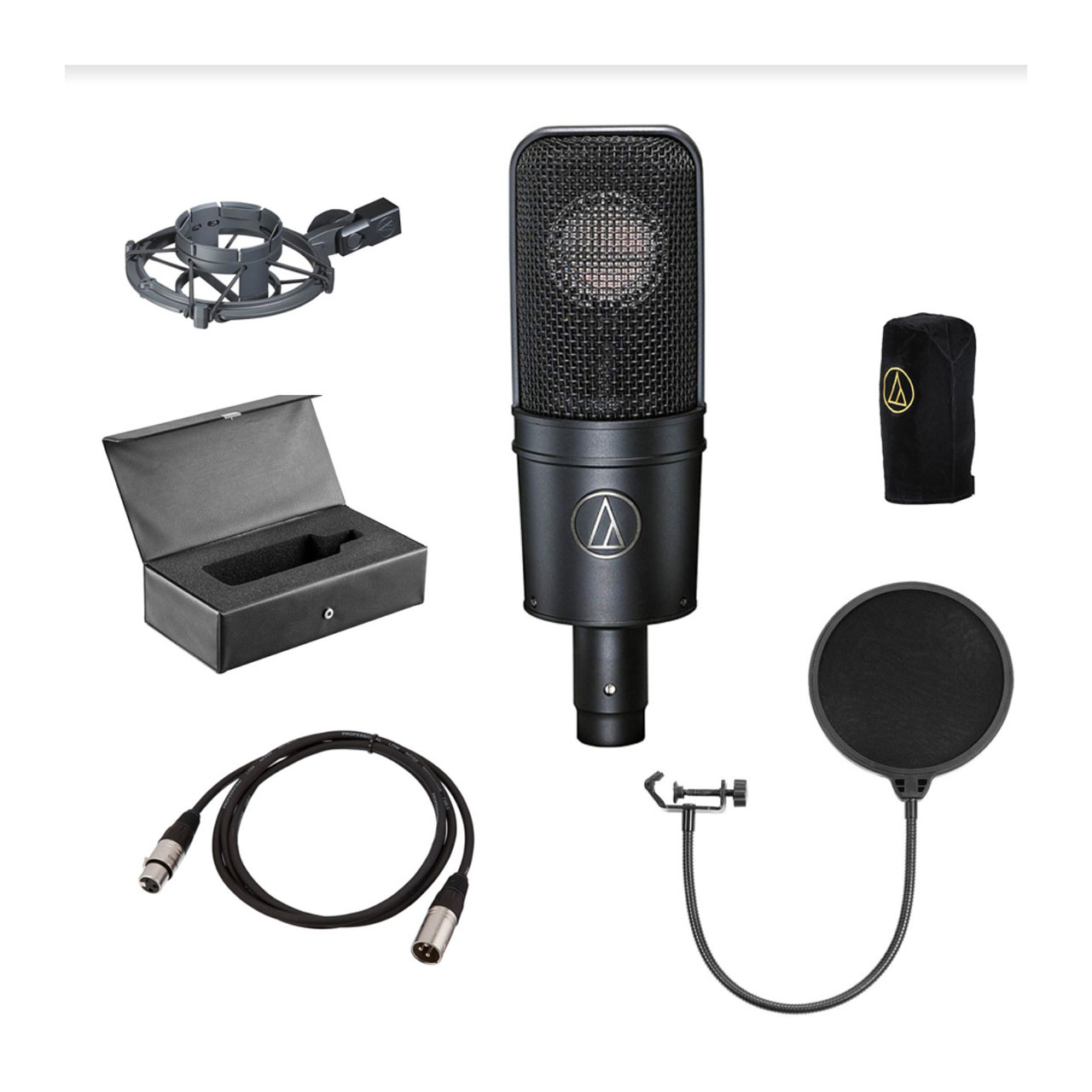 Audio-Technica AT4040 Cardioid Condenser Microphone + XLR Cable + Pop Shield + Reflection filter EZEE Bundle