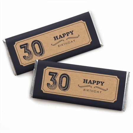 30th Milestone Birthday - Candy Bar Wrappers Party Favors - Set of