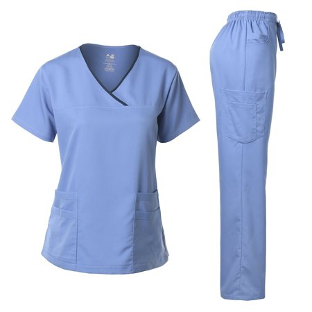 Blue Stretch Pants - Dagacci Medical Uniform Women's Scrub Set Stretch Contrast Binding Top and Pants (Ceil Blue, XX-Small)