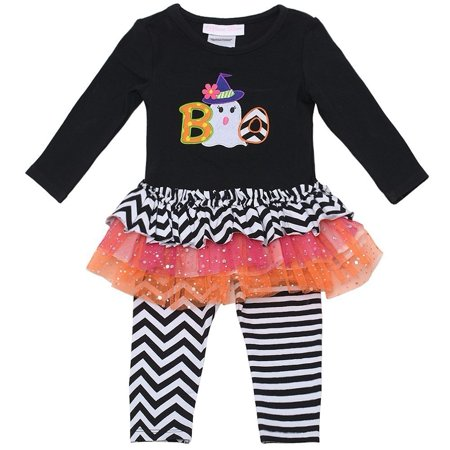 Baby Girls Black Boo Striped Tutu Tunic 2 Pc Leggings Set - Tutu Stores